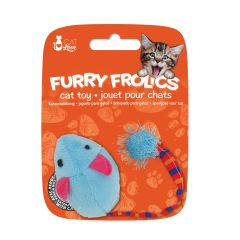 Small image for Cat Love Furry Frolics Cat Toy - Blue Plush Catnip Mouse